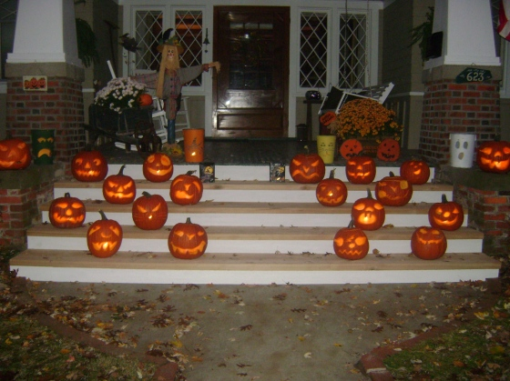 Random picture of my parents house at Halloween. We carve around 20 pumpkins :)