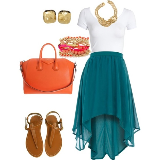 Teal High and low Skirt