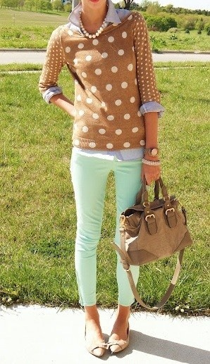 Mint Jeans with cream top